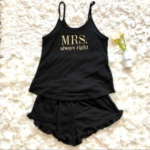 Love & Cherish Black Short Pajama Set Sz XS